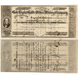 Gov. Bigler Gold and Silver Mining Company Stock Certificate