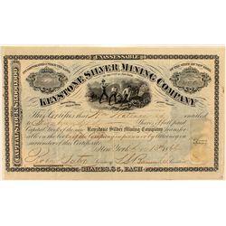Keystone Silver Mining Co Stock Certificate, 1866.