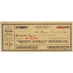 Betty O'Neal Mining Company stock certificate