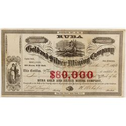 Ruba Gold and Silver Mining Company Stock Certificate