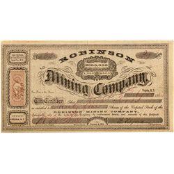 Robinson Mining Company Stock Certificate