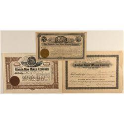 Rawhide Stock Certificates Trio