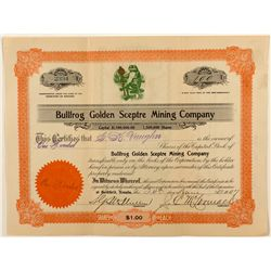 Bullfrog Golden Sceptre Mining Co. Stock Certificate 1907