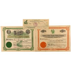Bullfrog Vignette Pieces: Check and Two Stock Certificates