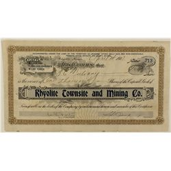 Rhyolite Townsite and Mining Co. Stock Certificate