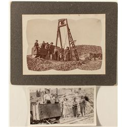 Two photographs of families with small children at mines