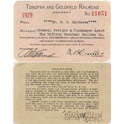 1929 Tonopah and Goldfield Railroad Pass