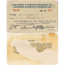 Las Vegas & Tonopah and Bullfrog Goldfield Railroad Co. 1916 Pass.