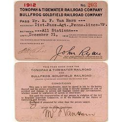 Tonopah & Tidewater Railroad Co. and the Bullfrog Goldfield Railroad Co. 1912 Pass