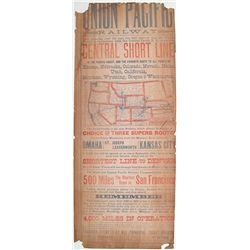 Striking 1880 Union Pacific Railway Broadside: Central Short Line