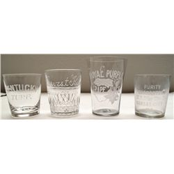 4 pre-prohibition shot glasses