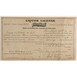Original 1890 Liquor License for the Mitchler Saloon in Murphys