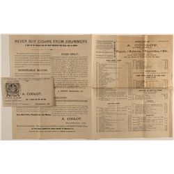Coolot cigar broadside and used advertising cover.