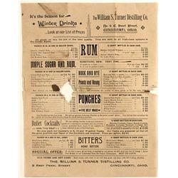 William S. Turner Distilling Company hand bill and price list