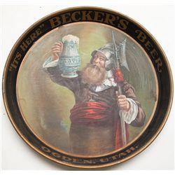 Becker's Beer, Ogden, Utah, tray