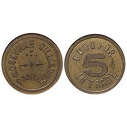 Roseville Billiard Parlor Token