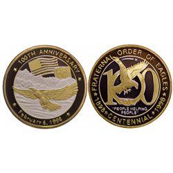 Centennial gold plated silver medallion