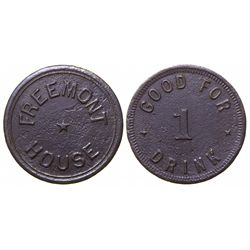 Previously Unknown Saloon token, Fremont House (#1), Fremont,