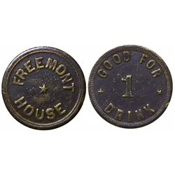 Previously Unknown Saloon token, Fremont House (#3), Fremont,