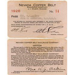 Nevada Copper Belt Railway Co. Pass
