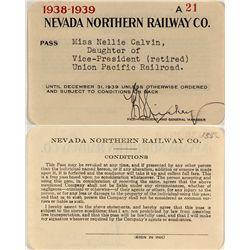 Northern Nevada Railway 1938-1939 Pass