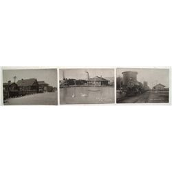 Three Railroad Depot Real Photo Post Cards from Nevada