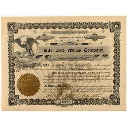 Hite Gold Mines Company Stock Certificate #1
