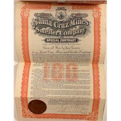 Santa Cruz Mines & Smelters Company $100 Bond