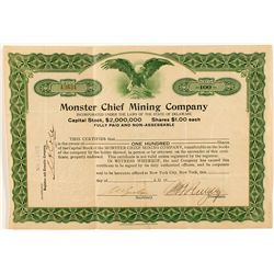 Monster Chief Mining Co. Issued to and signed by George Graham Rice