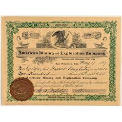 American Mining and Exploration Company Stock Certificate