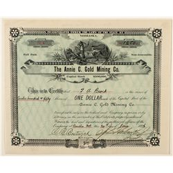 The Annie C. Gold Mining Co. Stock Certificate 1896