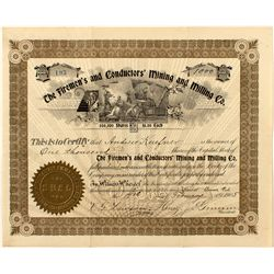 The Firemen's and Conductor's Mining & Milling Co. Stock Certificate