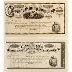 Two Unissued Georgetown, Colorado Stock Certificates