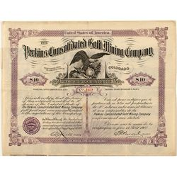 The Perkins Cons. Gold Mining Company Stock Certificate