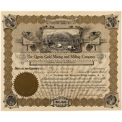 The Queen Gold Mining and Milling Company Stock Certificate