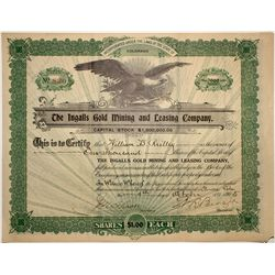 The Ingalls Gold Mining & Leasing Co. Stock Certificate 1905