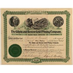 Gilpin & Boston Gold Mining Company Stock Certificate