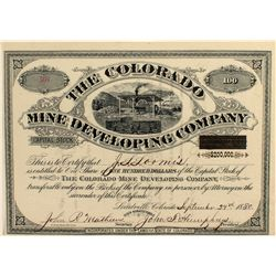 Colorado Mine Developing Co Stock Certificate