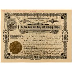 The Saw Tooth Gold Mining & Developing Co. Stock Certificate