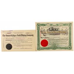 Two Cripple Creek Stock Certificates 1902, 1905