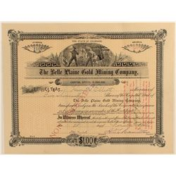 Bell Plaine Gold Mining Company Stock Certificate