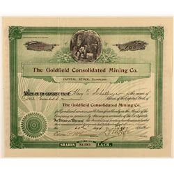 The Goldfield Consolidated Mining Co. Stock Certificate 1903