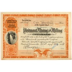 Piedmont Mining and Milling Company Stock 1908