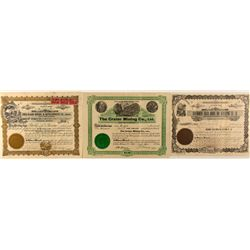 Three Scarce Idaho Mining Stock Certificates