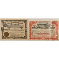 Two Montana Mining Stock Certificates