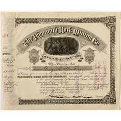 The Plymouth Rock Mining Company Stock Certificate