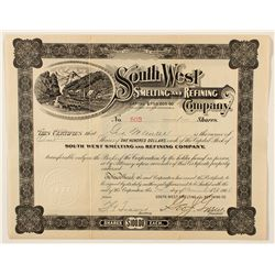 South West Smelting and Refining Co. Stock Certificate 1906