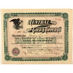 Central Gold & Copper Co. Stock Certificate 1902