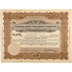 Cooperative Creamery Company Stock Certificate, Fallon, Nevada