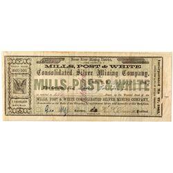 Mills, Post, & White Territorial stock certificate